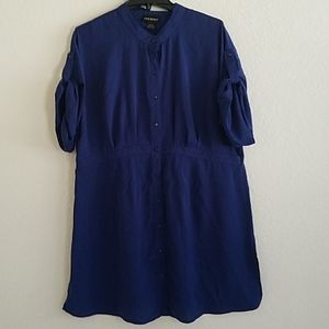 Lane Bryant Navy Blue Blouse Button Up Band Collar